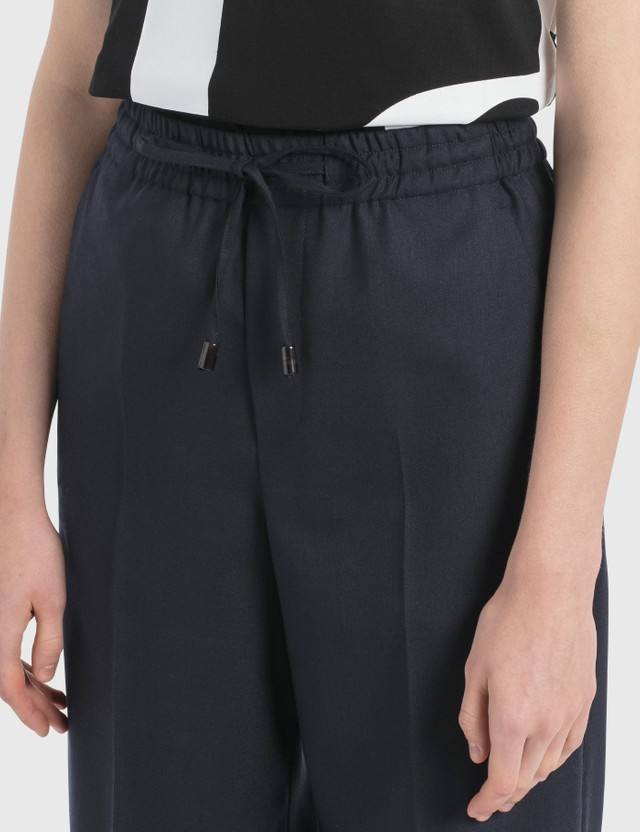 Maison Margiela Straight Leg Pants With Elastic Waist Blue Navy Women