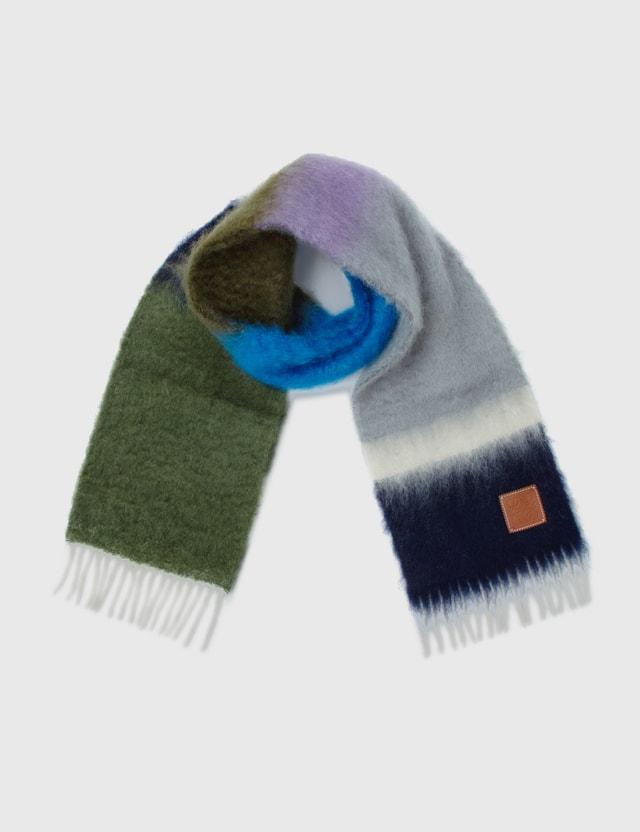 Loewe Stripes Mohair Scarf Grey/purple Men