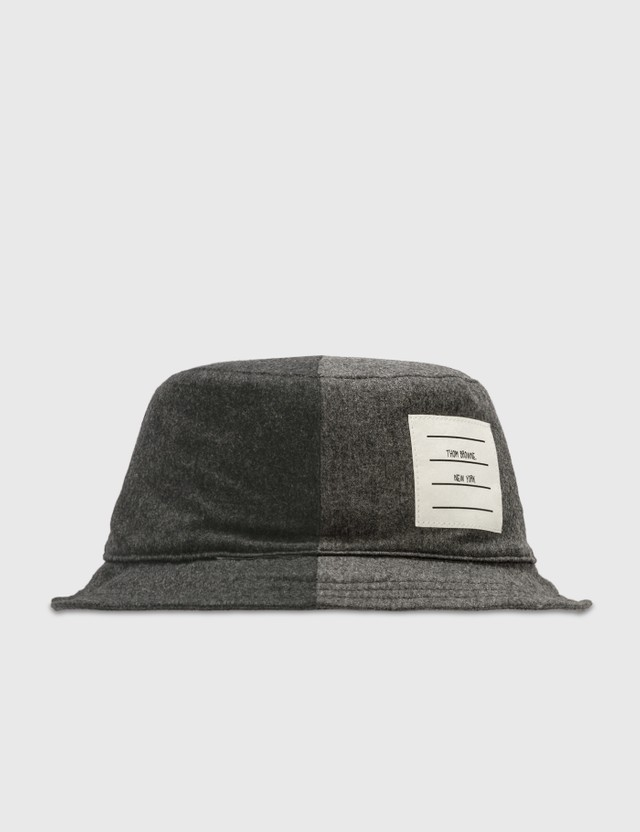 Thom Browne Wool Flanel Bucket Hat Dark Grey Men