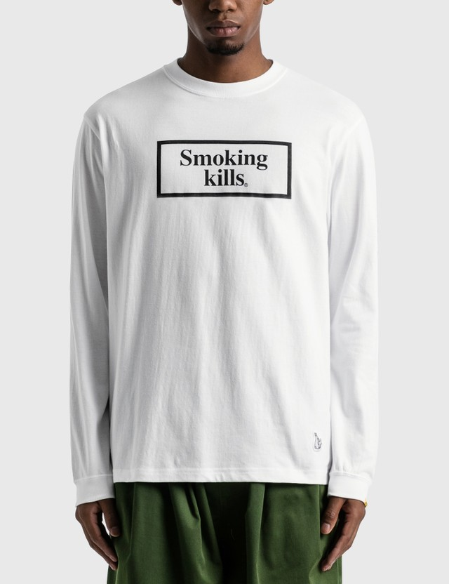 #FR2 Smoking Kills Box Logo Long Sleeve T-shirt White Men