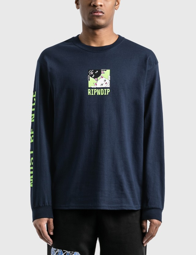 RIPNDIP Besties Long Sleeve T-Shirt Navy Men