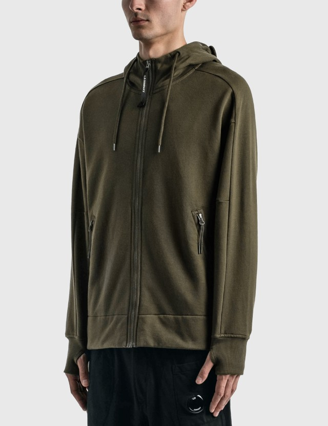 CP Company Diagonal Raised Fleece Goggle Hoodie Ivy Green Men