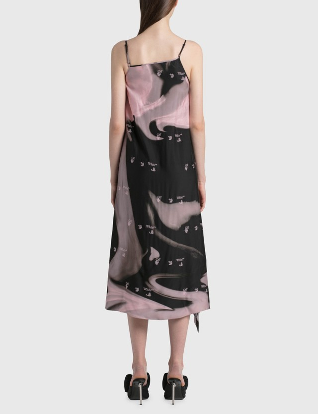 Off-White Liquid Melt Waves Slip Dress Nude Blac Women