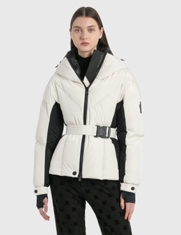 Moncler Long Puffer Jacket With Waist Belt