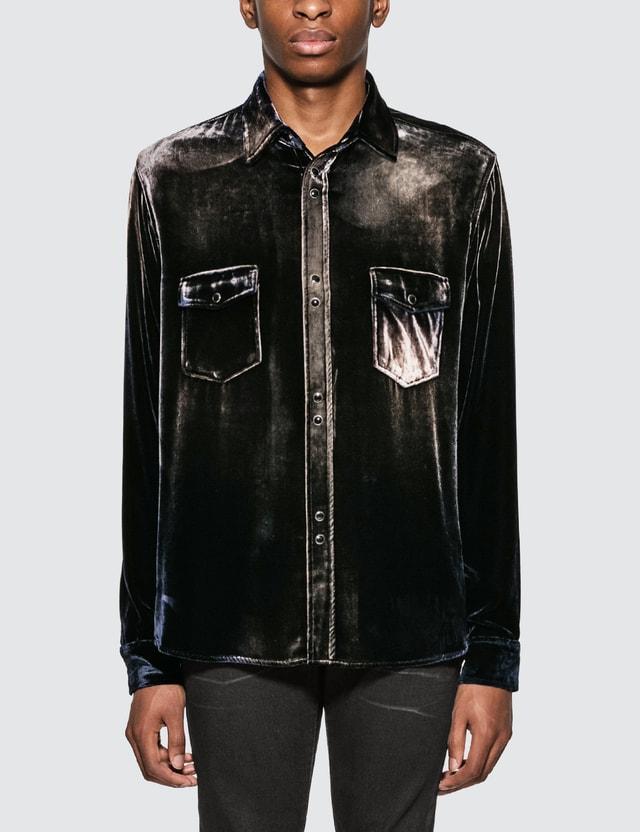 Saint Laurent Oversized Shirt In Bleached Dévoré Velvet Navy Men