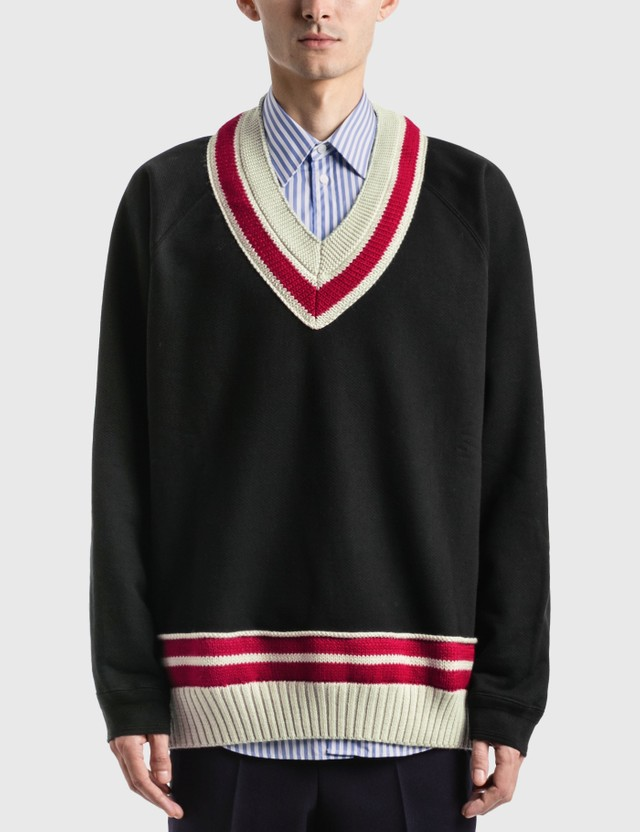Maison Margiela Oversized Knit Trim Sweatshirt