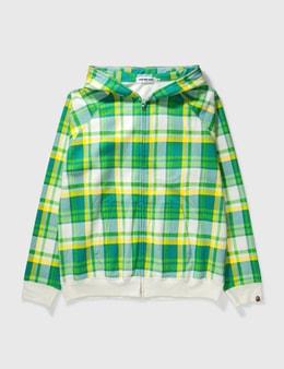 BAPE Bape Green Check Zipup Hoodie