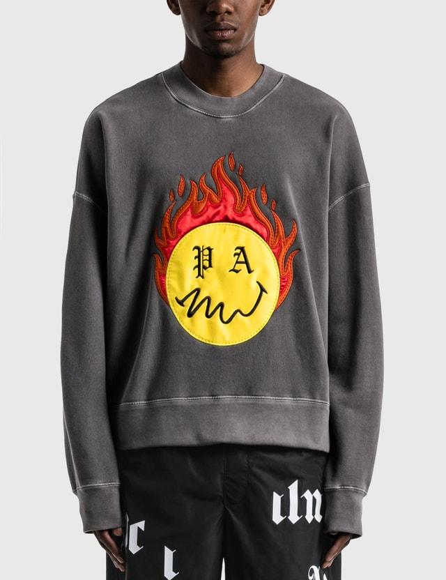 Palm Angels Burning Head Crewneck Sweatshirt Black Men