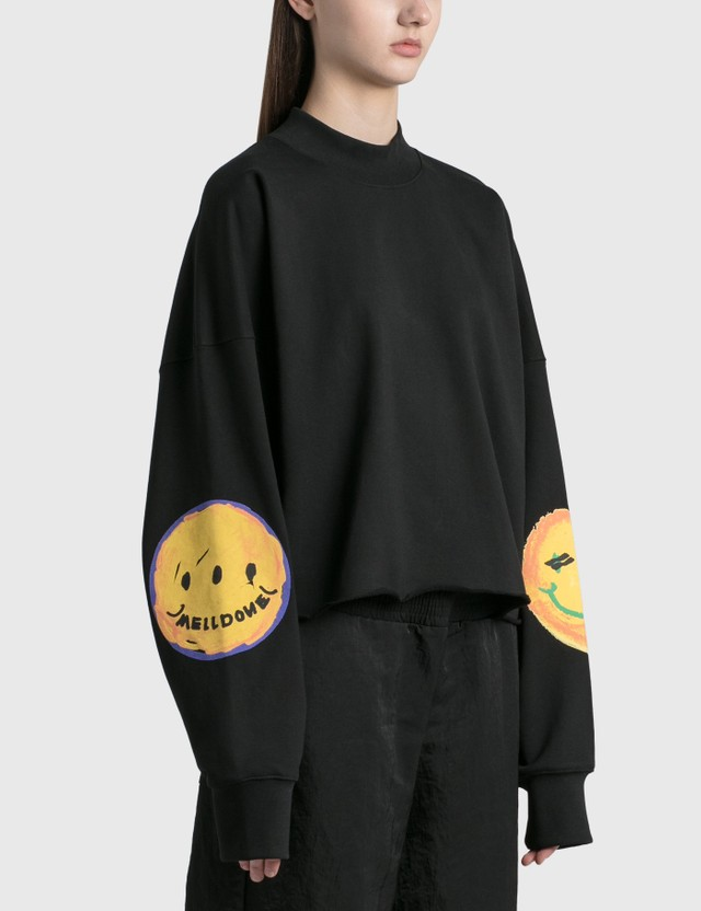 We11done Smiley Raw Edge Sweatshirt Black Women
