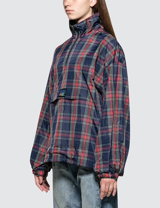 SJYP Check Pattern Half Zip Up