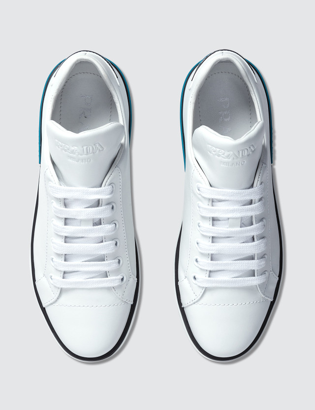 Prada Logo Leather Sneakers