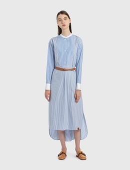 Loewe Midi Striped Shirtdress Leather Belt