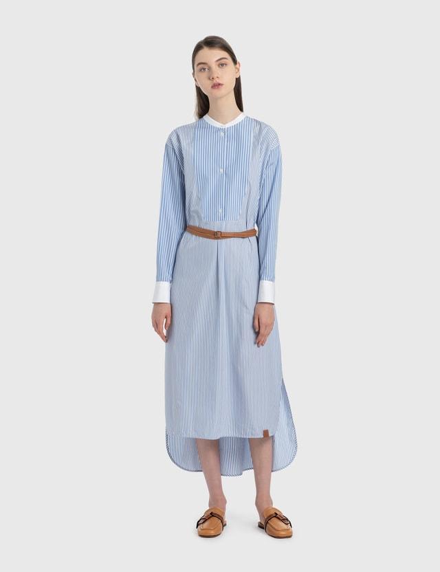 Loewe Midi Striped Shirtdress Leather Belt White/blue Women