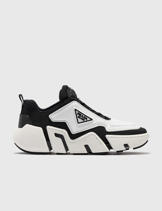 Prada Technical Fabric Sneakers Nero+bianco Women