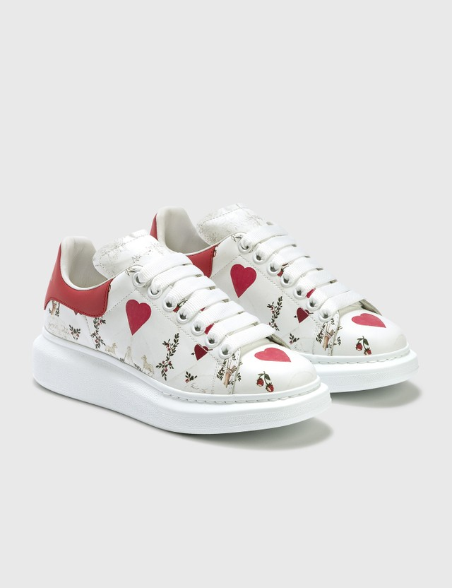 Alexander McQueen Oversized Sneakers With Heart Print Multired/white Women