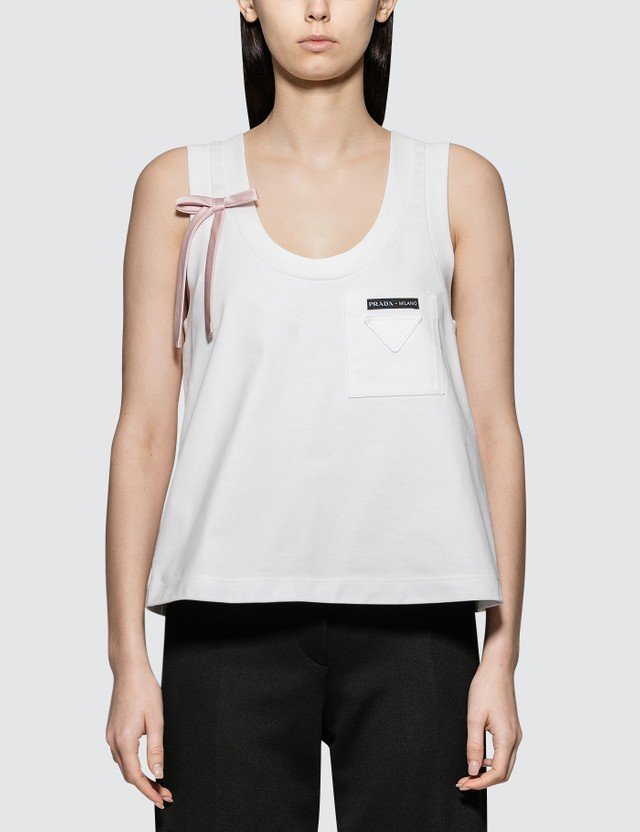 Prada Jersey Tank Top With Bow