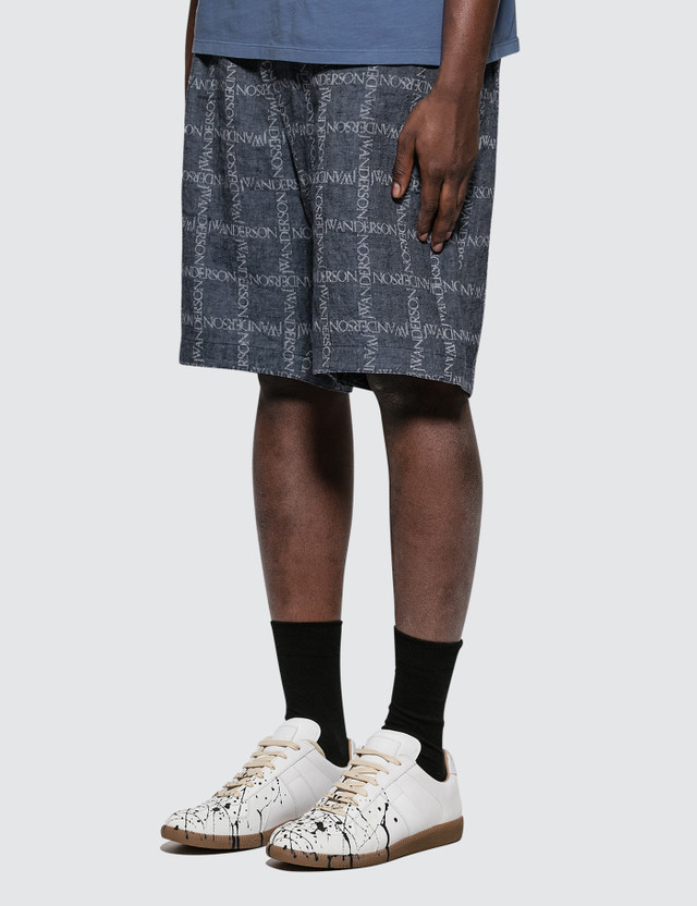 JW Anderson Elasticated Waistband Logo Grid Cotton Shorts