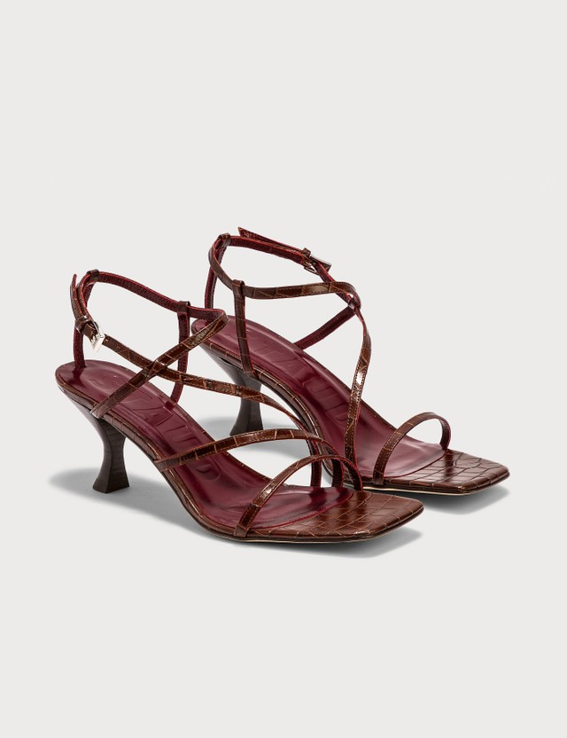 Staud Gita Sandal Brown Faux Croc Women