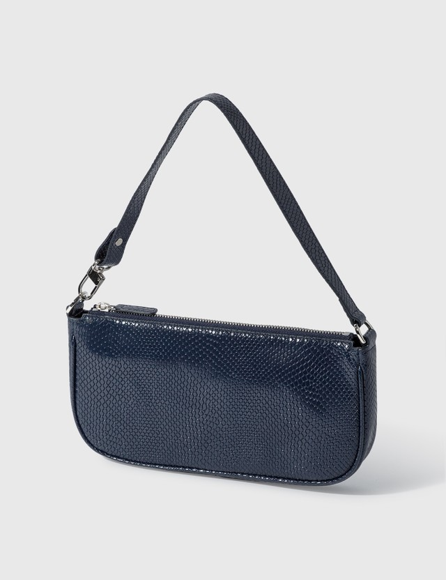 BY FAR Rachel Deep Blue Snake Print Leather Bag