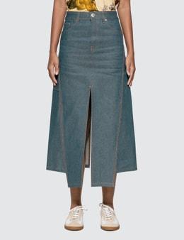 Lanvin Slit Midi Denim Skirt