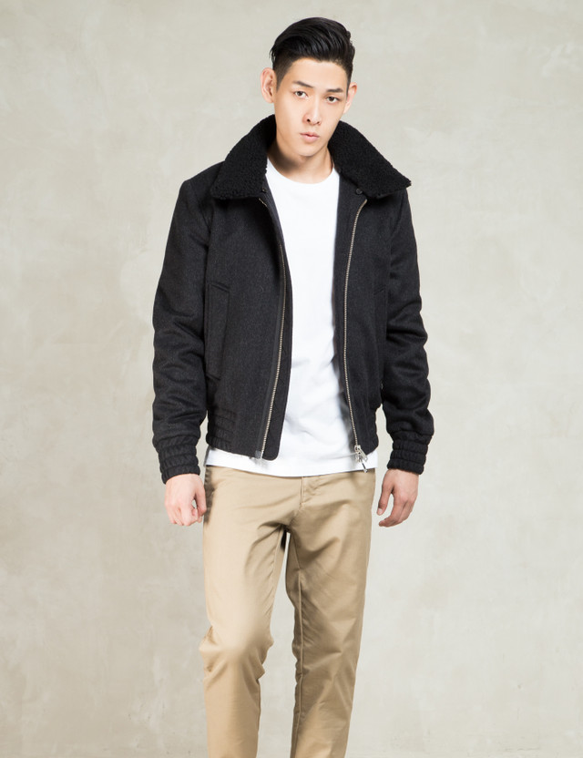 3a8607788 Black Men Shearling Collar Zipped Jacket