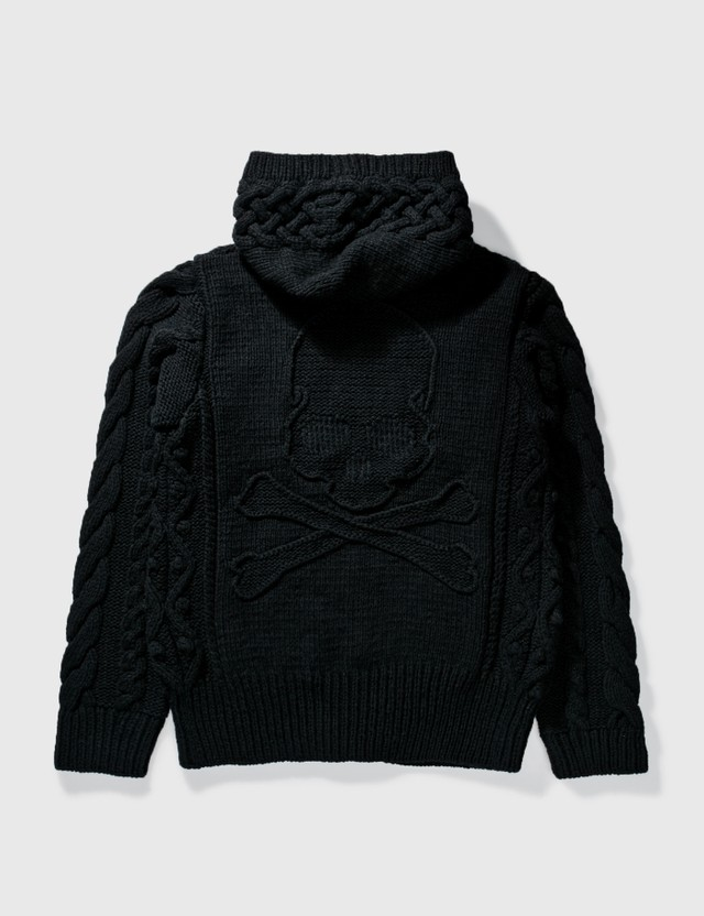 Mastermind Japan Mastermind Japan Cable Knit With Skull Knit Hoodie Black Archives