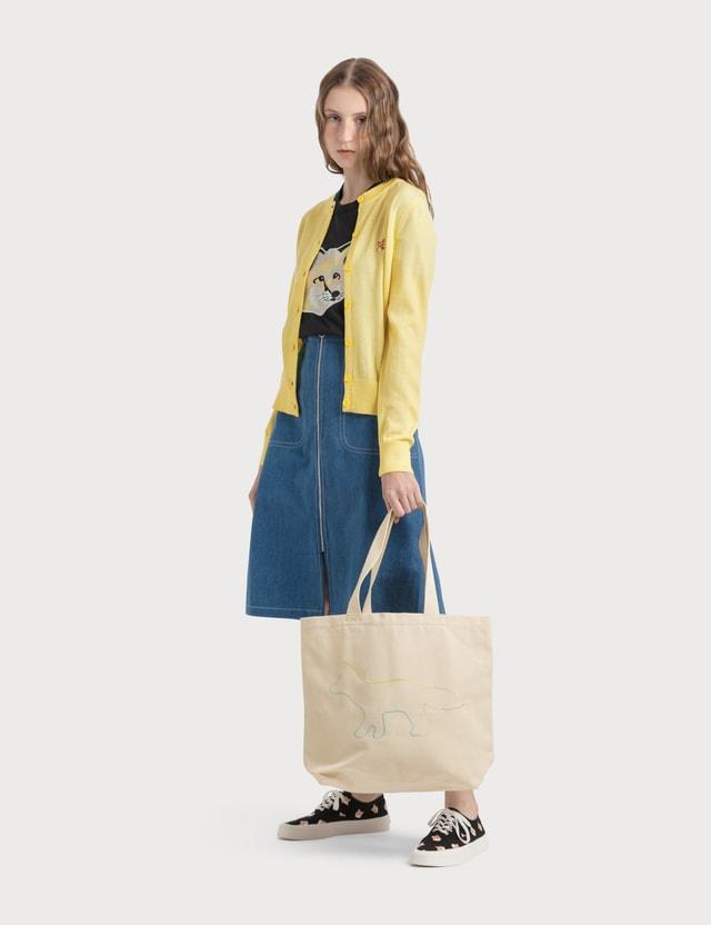Maison Kitsune Rainbow Profile Fox Tote Bag
