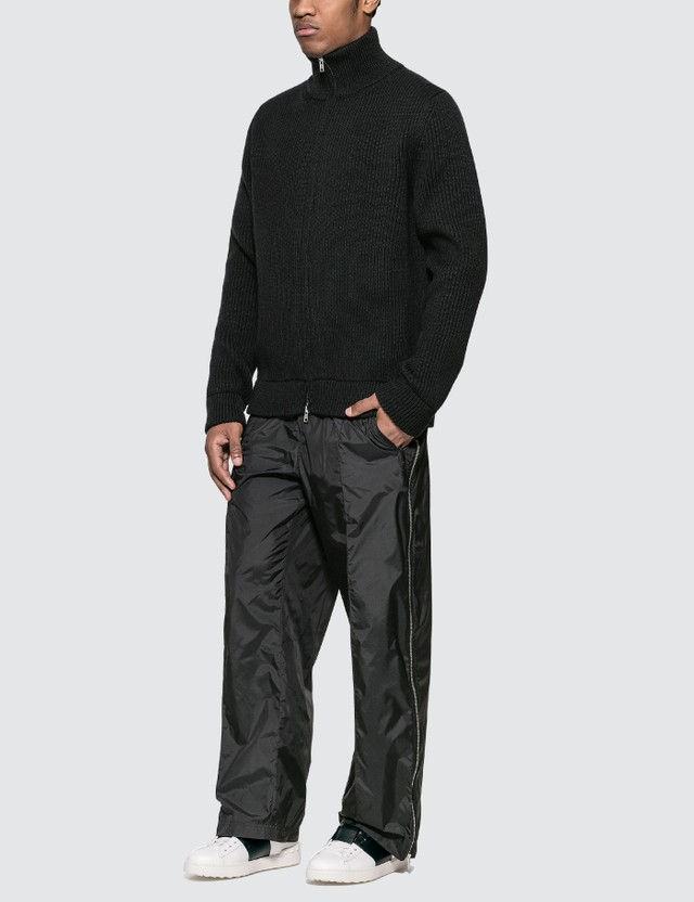 Maison Margiela Zip Up Heavy Knit Wool Cardigan
