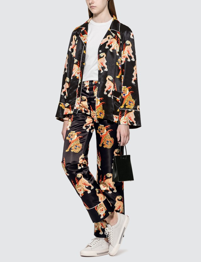 Kirin Haetae Viscose Pajama Shirt Black Multic Women