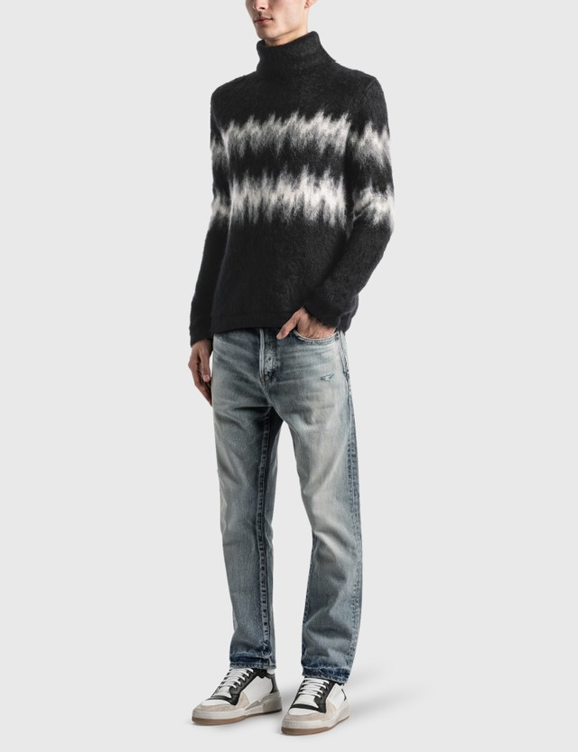 Saint Laurent Brushed Knit Turtleneck Sweater In Mohair Intarsia Noir/naturel/gris Ch Men