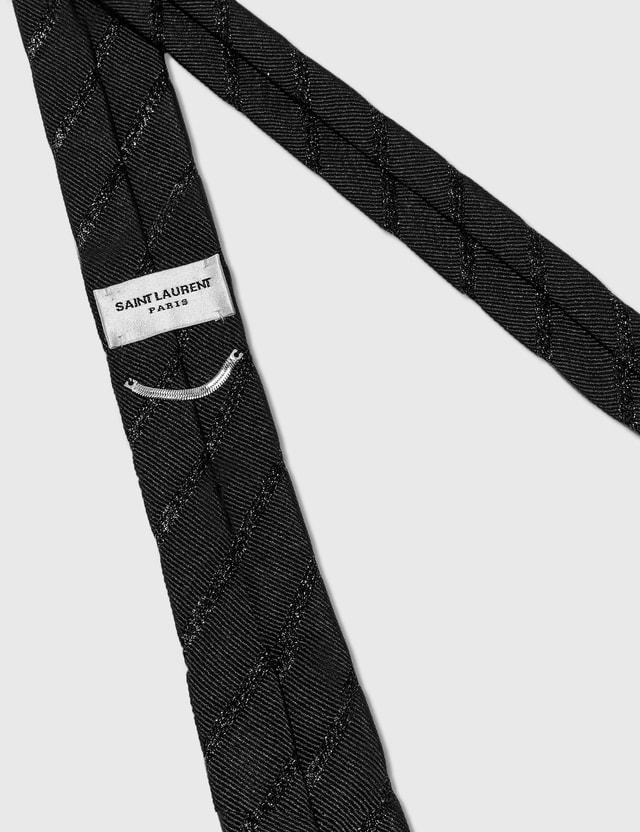 Saint Laurent Lame Silk Narrow Tie Nero Men