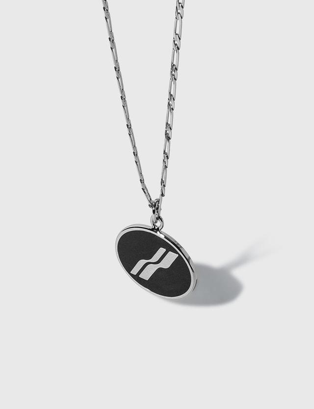 We11done Oval Logo Necklace Silver/black Men