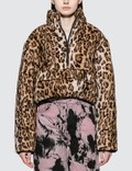 Ashley Williams Faux Leopard Fur Puffer Pullover Jacket Picture