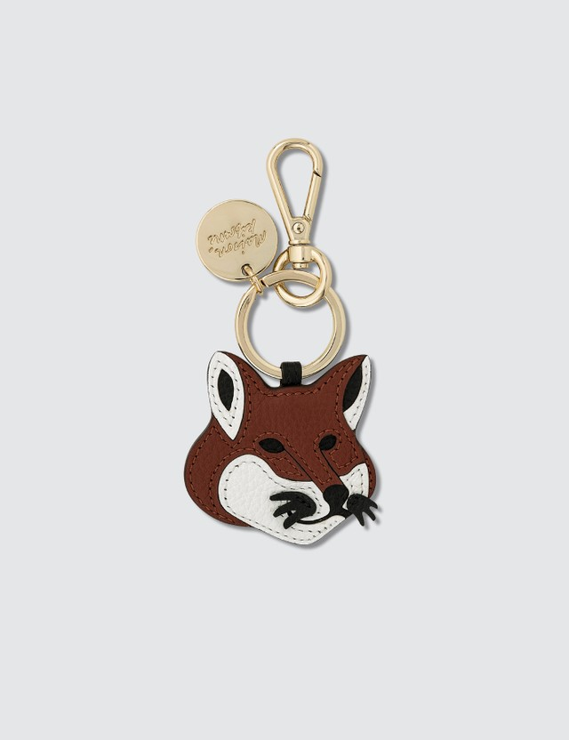 Maison Kitsune Leather Fox Head Keyring