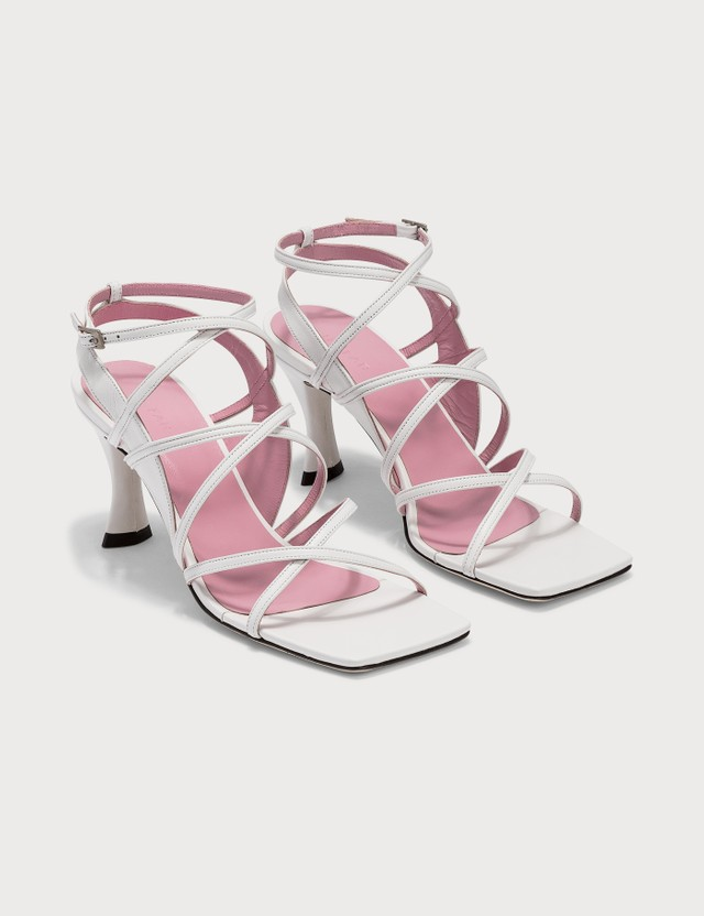 BY FAR Christina White Leather Sandals