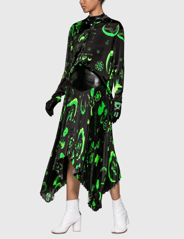 Marine Serre Graphic Print Pleated Skirt Shamanic Black/green Women