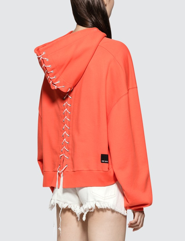 Unravel Project French Terry Lace Up Hoodie Faded Orange Orange Women
