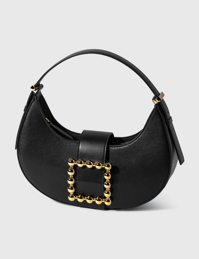 Les Petits Joueurs Cindy Moon Golden Buckle Bag Black Nappa Women