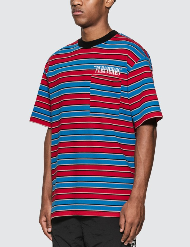 Pleasures Chainsmoke Stripe T-Shirt Blue/ Maroon Men
