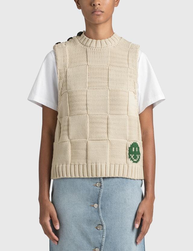 Ganni Smiley Fitted Sweater Vest Brazilian Sand Women