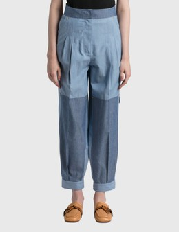 Loewe Cropped Chambray Balloon Trousers