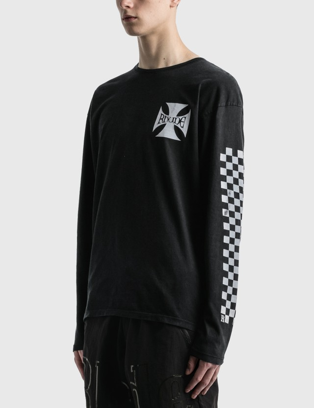 Rhude Classic Checkers Long Sleeve T-Shirt Black Men
