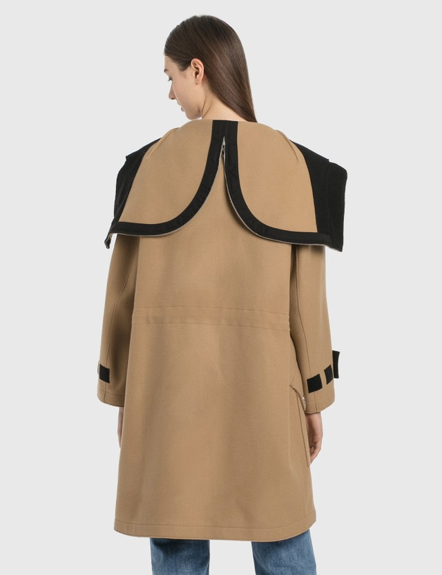 Burberry Logo Appliqué Technical Wool Hooded Parka Camel Women