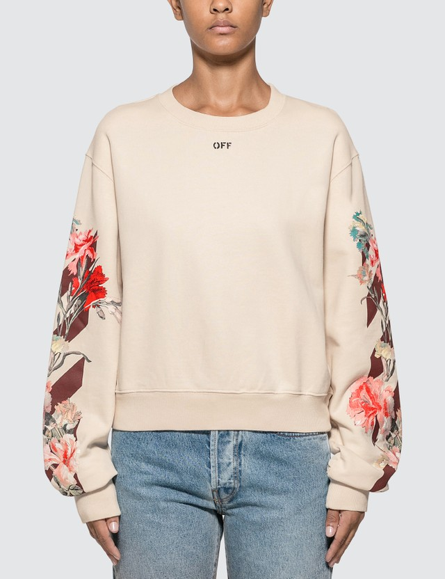 Off-White Flowers Carryover Cropped Sweatshirt