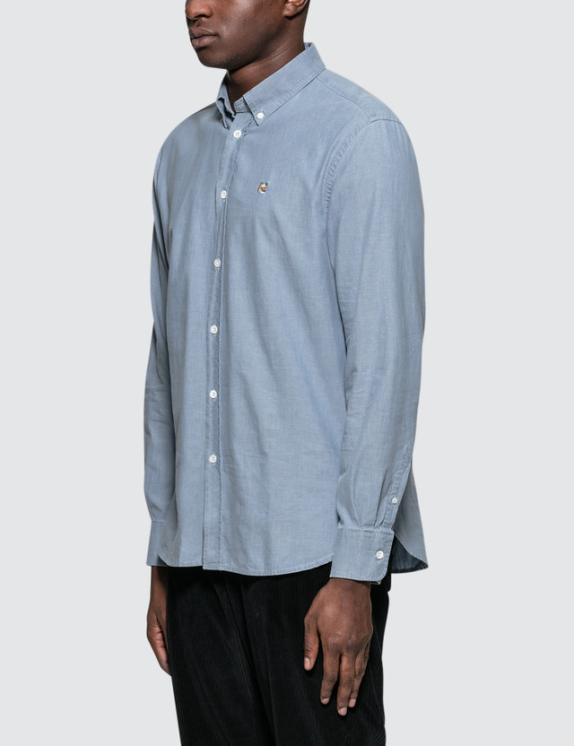 Maison Kitsune Chambray Fox Head Embroidery Classic Shirt
