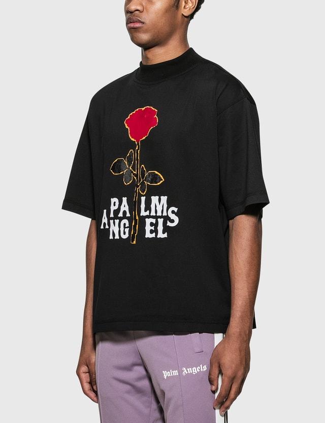 Palm Angels Rose Boxy T-Shirt Black Red Men