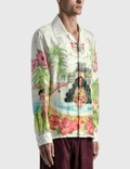 Casablanca Kamehameha Printed Silk Twill Shirt White Men