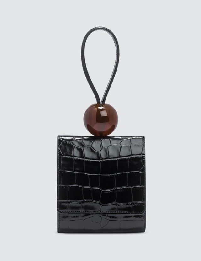 BY FAR Ball Black Croco Embossed Leather Bag