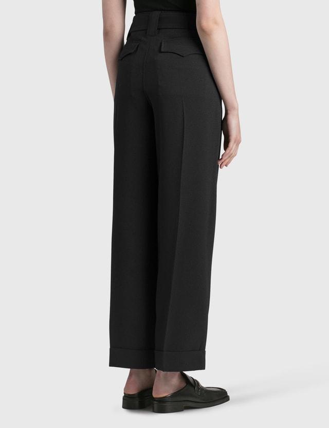 Ganni Heavy Crepe High-rise Straight Pants Black Women