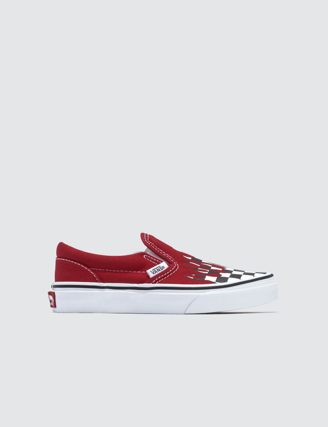 Vans Classic Slip-On Kids (checker Flame) Racing Red/true White Kids